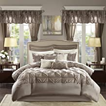 Madison Park Essentials Room in a Bag Faux Silk Comforter Set-Luxe Diamond Tufting All Season Bedding, Matching Curtains, ...
