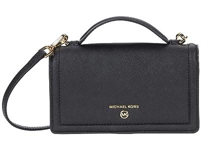 MICHAEL Michael Kors Jet Set Charm Small Top-Handle Phone Crossbody (Black) Handbags