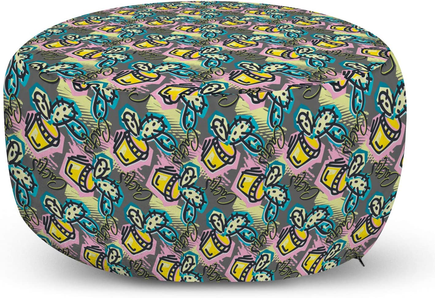 Lunarable Cactus Max 54% OFF Pouf Cover Outstanding with Design Energetic Zipper Grungy