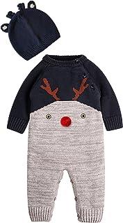 ZOEREA Neugeborenes Baby Mädchen Junge Strick Strampler Watte Weihnachten warme Pullover mit Hut Elch Hirsche Clown Muster für die Saison Frühling, Herbst und Winter0-22 Monate
