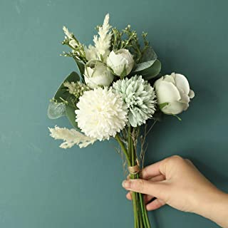 LACKINGONE Eternal Silk Artificial Flowers Bouquet with Stems, Rose Hydrangea Realistic Flower Arrangements, White Blue Ye...