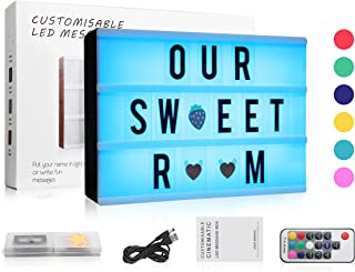 7 Colours Changing Cinematic Light Up Box with 120 Letters, ME456 A4 Size RGB LED Message Cinema Sign with Wireless Remote Control