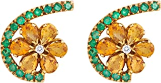 Gehna Yellow Gold and Diamond Stud Earrings