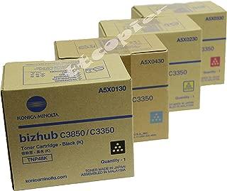 Konica Minolta TNP48K TNP48C TNP48M TNP48Y Bizhub C3350 C3850 Toner Cartridges Set (Black Cyan Magenta Yellow, 4-Pack) in Retail Packaging
