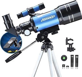 Aomekie Telescopio para Niños 300/70mm Telescopios Astronomicos con Trípode Adaptador Teléfono Ffiltro Lunar para Principi...