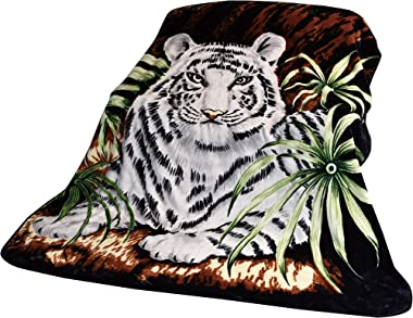 """White Tiger Throw Animal Blanket, for Traveling, Hiking, Camping , Full Queen , TV, Cabin, Couch, Bed Blanket. 75""""Wx90&#3"""