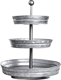 DELBRIO - 3 Tier Jumbo Serving Tray & Display Stand - Rustic, Decorative Galvanized, Farmhouse Decor