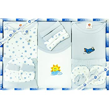 PIKIPOO New Born Unisex Baby Clothing Mini Berry Gift Set-13 Pieces (Blue)