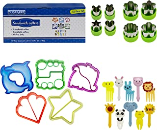 Sandwich Cutters for Kids, Mini Forks, Vegetable Cutter Set (23 Piece Set) Fun and Cute Shaped Cookie Cutter or Bread Cutter - Large Food Cutter Set for Kids Lunch