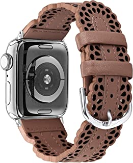 Secbolt Leather Bands Compatible with Apple Watch Band 38mm 40mm iWatch Series 5 4 3 2 1, Chic Lace Leather Strap for Women, Brown