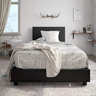 Carley Upholstered Bed, Black, Twin