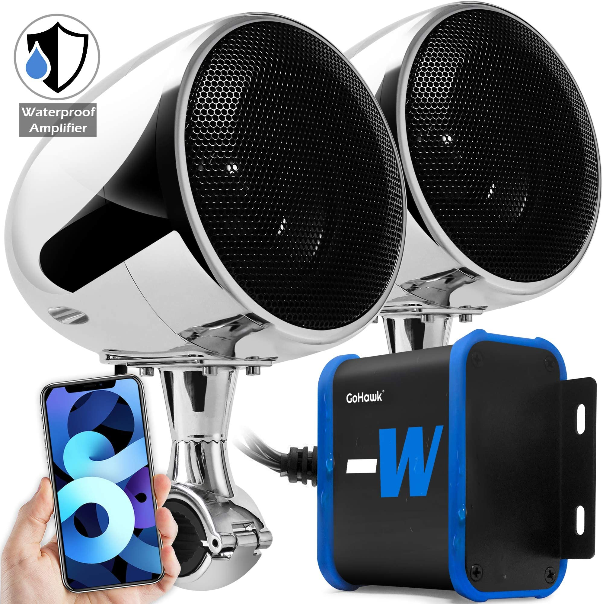 "GoHawk TN4-W Waterproof Amplifier 4"" Full Range Bluetooth Motorcycle Stereo Speakers 1 to 1.25 in. Handlebar Mount Audio Amp System Harley Touring Cruiser ATV 4-Wheeler, USB, AUX, FM Radio"