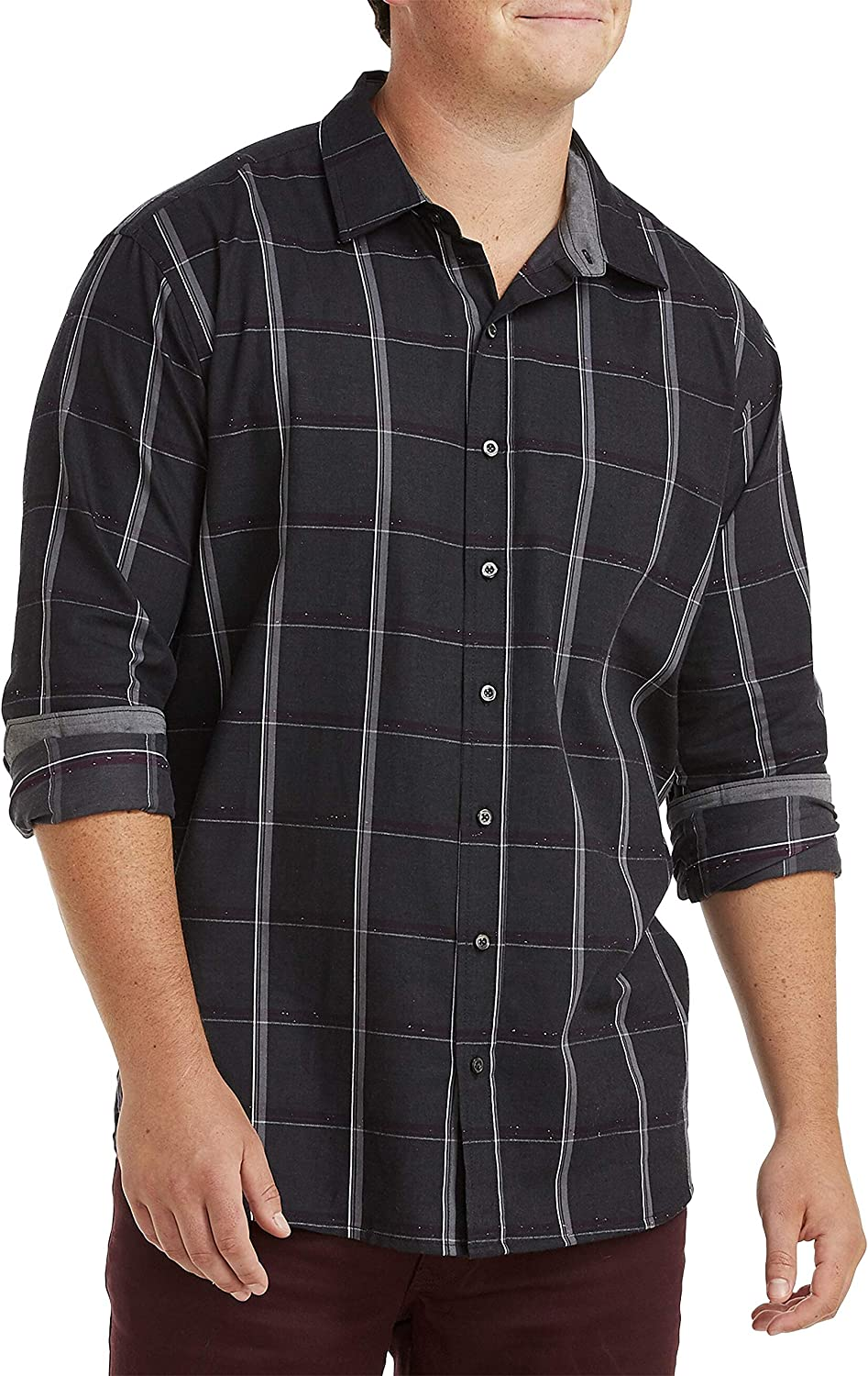 DXL Synrgy Big and Tall Textured Check Sport Shirt, Grey