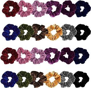 Madholly 24 pieces Velvet Hair Ties, Super Soft Velvet Hair Scrunchies Set, Durable Stay in Place Elastic Velvet Hair Acce...