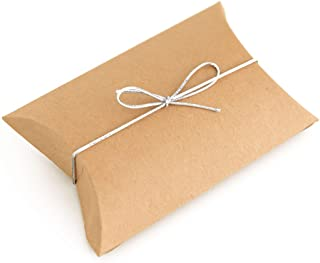 50pcs Kraft Paper Pillow Boxes with 50pcs Silver Elastic Ties - Candy Boxes Party Favors - Small Rustic Thank You Treat Bo...