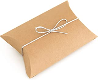 50pcs Kraft Paper Pillow Boxes with 50pcs Silver Elastic Ties - Candy Boxes Party Favors  - Small Rustic Thank You Treat Box for Bridal and Baby Showers, Birthday Parties and Wedding Favor Boxes