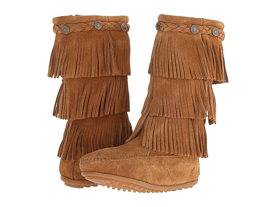 Minnetonka Kids 3-Layer Fringe Boot (Toddler/Little Kid/Big Kid) (Dusty Brown Suede) Girls Shoes