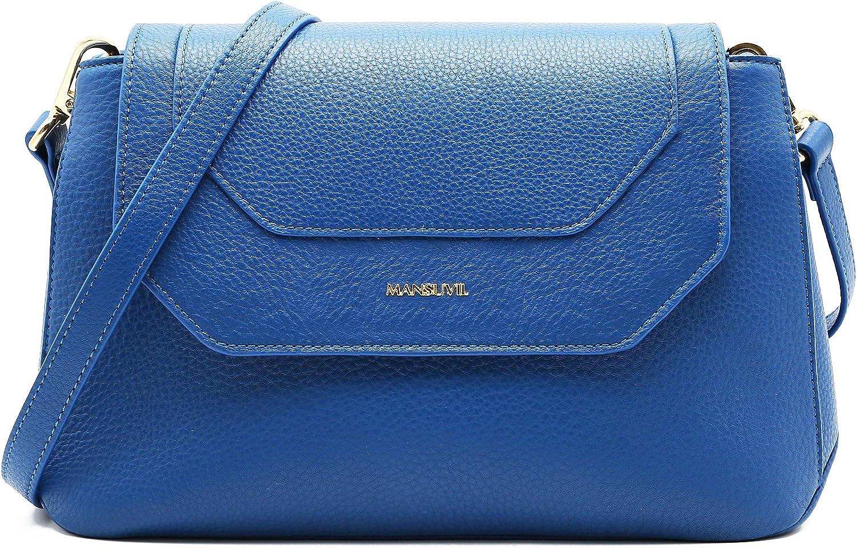MANSUVIL Women's Cowhide Single Shoulder Bag, Inclined Shoulder Bag, Flap Bag, Messenger Bag, Real Leather Bag Sky bluee