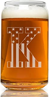 K-Monogram- Engraved Beer Can Glass- USA Flag Design- 16 Ounce Capacity
