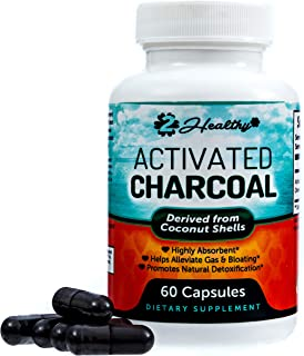Activated Charcoal Capsules - Helps Alleviate Gas, Bloating & Digestion, Promotes Natural Detox & Detoxification, Prevents Hangovers, Stomach Illness, Travel Bug & Irritable Bowels, 60 Veggie Capsules