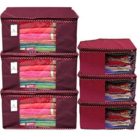 Kuber Industries Non Woven 3 Piece Saree Cover/Cloth Wardrobe Organizer and 3 Pieces Blouse Cover Combo Set (Maroon) -CTKTC038397