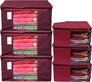 Kuber Industries Non Woven 3 Piece Saree Cover/Cloth Wardrobe Organizer and 3 Pieces Blouse Cover Combo Set (Maroon) -CTKT...