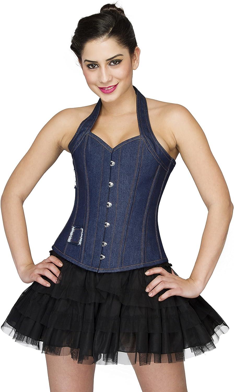 bluee Denim Halter Neck Goth Steampunk Overbust Satin Net Tutu Skirt Corset Dress