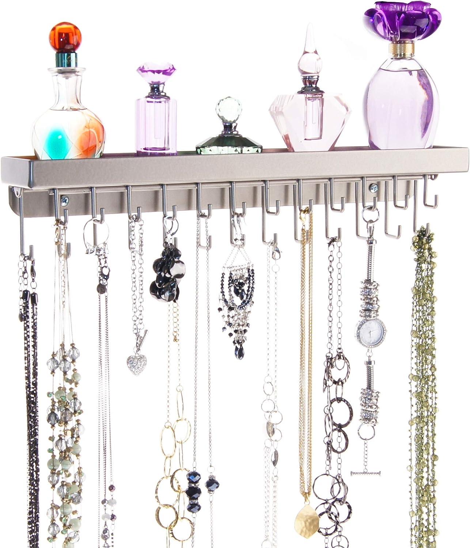 Angelynn's Necklace Holder Organizer Wall Mount Closet Jewelry Storage Rack Floating Shelf, Schelon Satin Nickel Silver