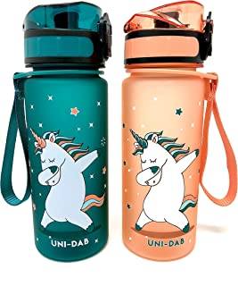 Cliffside Global Kids Water Bottle - 12oz - Leak Proof - BPA Free & Non-Toxic - Fast or Slow Flow - Single Action Lid - Eco-Friendly & Durable TRITAN Material - Reusable - Unicorn Approved