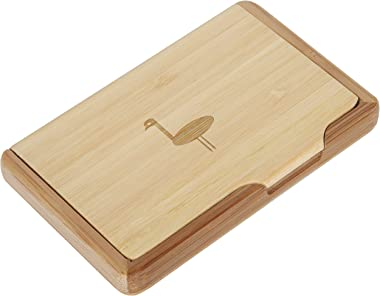 Emu Bamboo Business Card Holder with Laser Engraved Design - Business Card Keeper - Holds Up to 10 Cards - Lightweight Callin