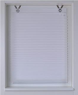 Estor plisado con ojales, aproximadamente 40/50/60/70/80/100x 125/210cm, tela, weiss, ca. 40 * 125 cm