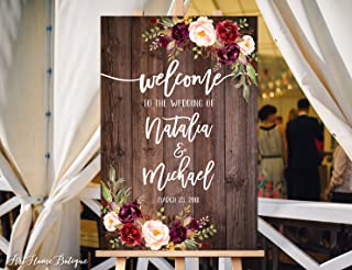 Wood Plaque Welcome Wedding Sign Rustic Welcome Wedding Sign Welcome To Our Wedding Sign and Burgundy Flowers Printable Sign 18