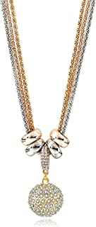 Long Necklace,Gold Silver Rose Gold Plated 3-Color Multilayer Necklaces with Rhinestone Crystal Disco Ball Pendant Fashion Jewelry Gift for Women at Birthday
