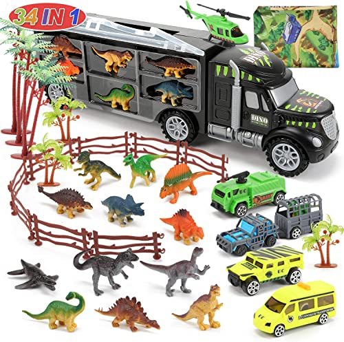 lowest CUTE STONE 34 in 1 Dinosaurs Truck, Dino Transport Car Carrier Truck Toy high quality with 12 Mini Dinosaur discount Figures and 4 Cars, Dino Park Toy Birthday Gift for 3+ Year Old Boys and Toddlers outlet online sale