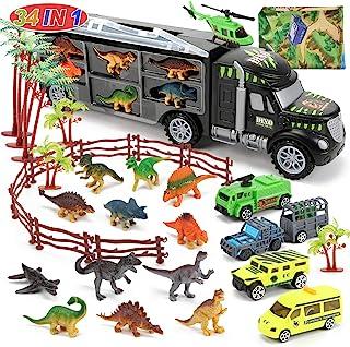 شاحنة ديناصورات من CUTE STONE 34 في 1، لعبة شاحنة نقل سيارة دينو مع 12 شخصية ديناصور صغيرة و4 سيارات، لعبة دينو بارك هدية ...