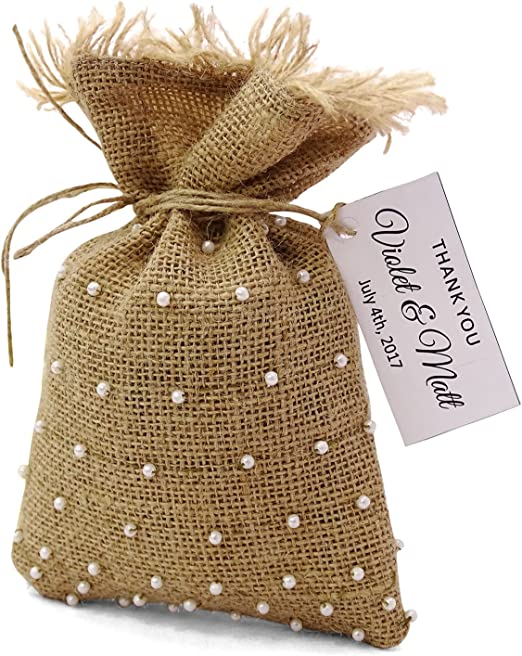 shower Personalized cotton bags rustic cloth favor pouches or party Deer head with names and date Woodland favor bags for wedding