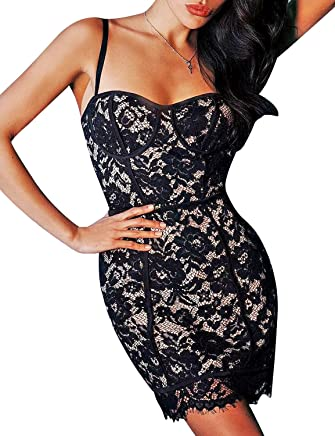 49882e022fce Hego Women s Black Embroidery Lace Spaghetti Strap Bandage Bodycon Dress  H5478
