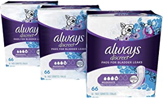 Always Discreet Incontinence Pads for Women, Moderate Absorbency, Regular Length, 66 Count (Pack of 3), 198 Count