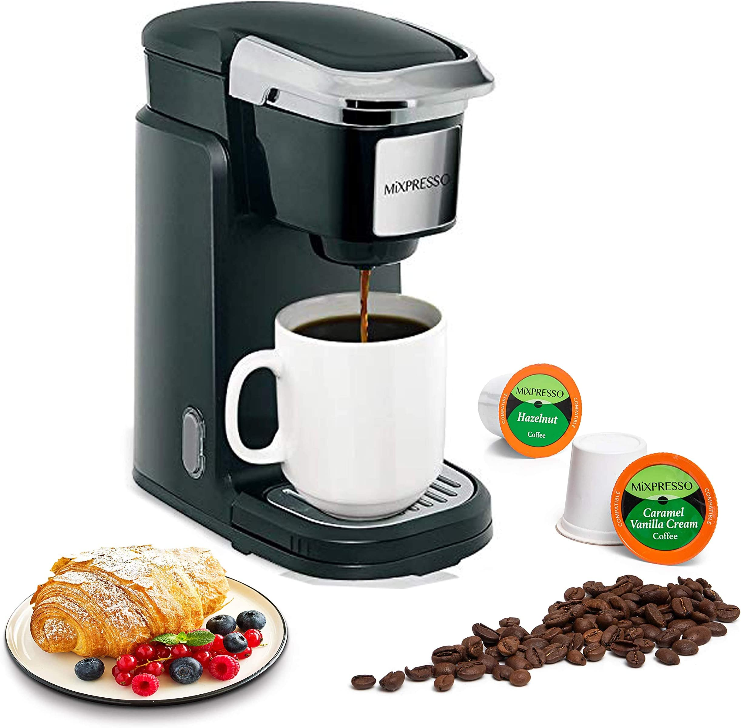 Mixpresso Single Cup Coffee Maker   Personal, Single Serve Coffee Brewer Machine, Compatible with Single-Cups   Quick Brew Technology, Programmable Features, One Touch Function (Black)