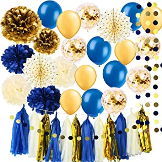 Royal Pince Baby Shower Decorations for Boy/ Navy Gold Bridal Shower Decorations Tissue Pom Pom Latex Balloons Gold Polka Dot Paper Fans for Boy First Birthday Little Prince Navy Gold Decorations
