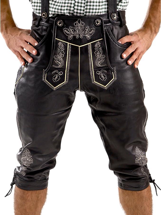 Herren kniebund schwarz lederhose Trachten Lederhose