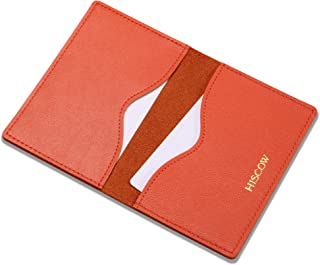 HISCOW Minimalist Thin Bifold Card Holder - Italian Calfskin (Orange)