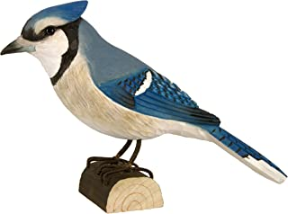 WILDLIFEGARDEN Blue Jay DecoBird, Hand-Carved Wood Replica for Indoor or Outdoor Use, Artisanal Life-Like Figurine Designed in Sweden