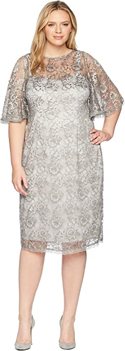 Plus Size Antique Flutter Sleeve Lace Cocktail Dress