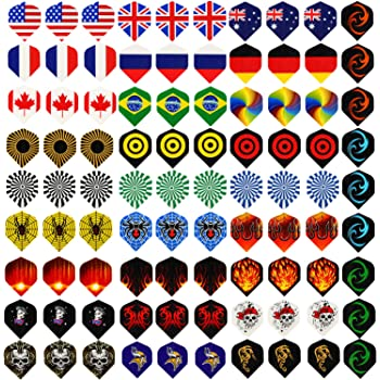 Centaur 30 Sets 90 Pcs Standard Dart Flights Durable PET and Extra 6 Pcs Flights Protectors, Wholesale National Flag Cool Styles, Perfect Equipment Supplies for Soft/Steel Tip Dart Games