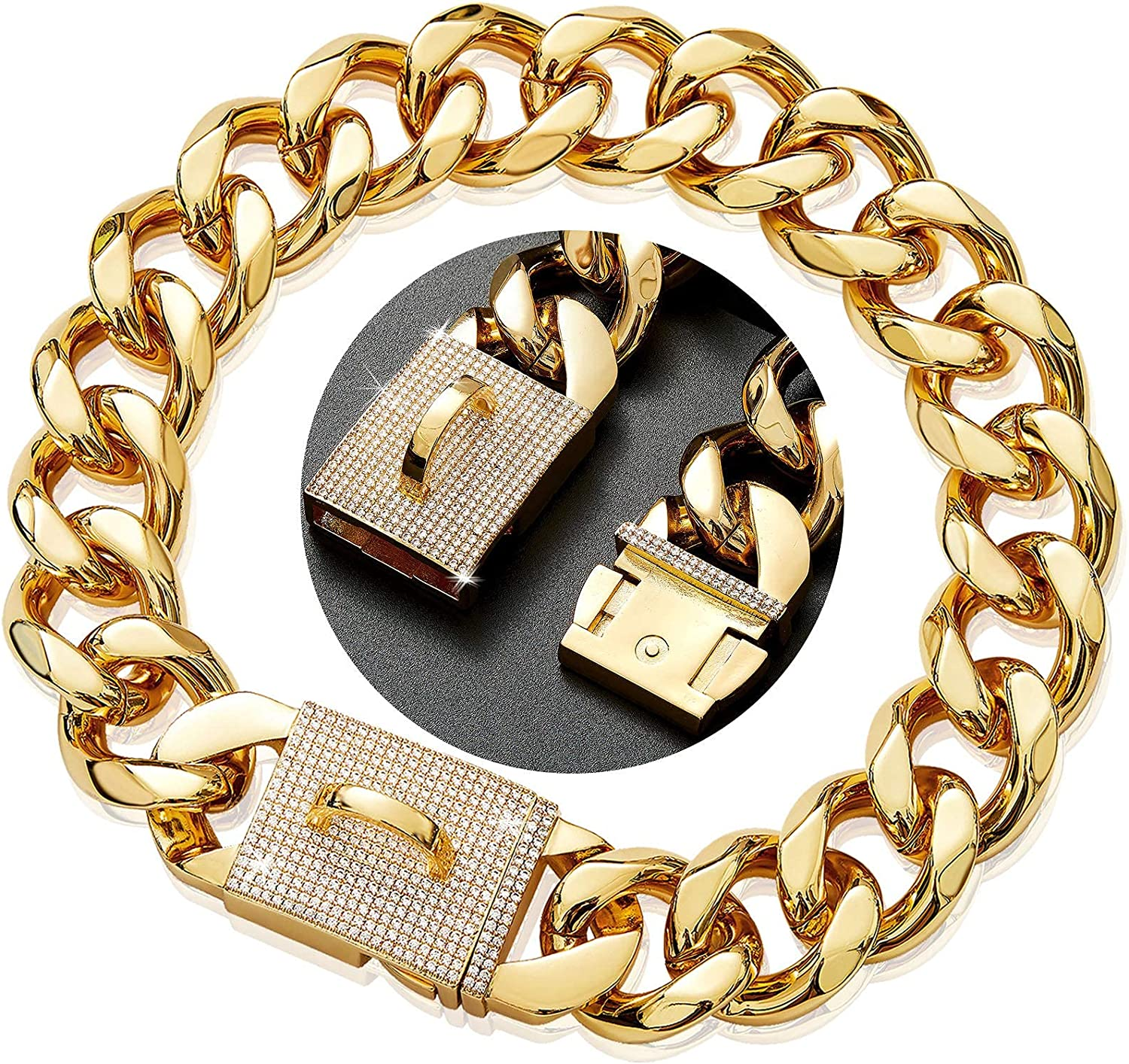 18K Gold Dog Collar Chain Necklace Strong with Diamond Buckle Online limited product S Popular