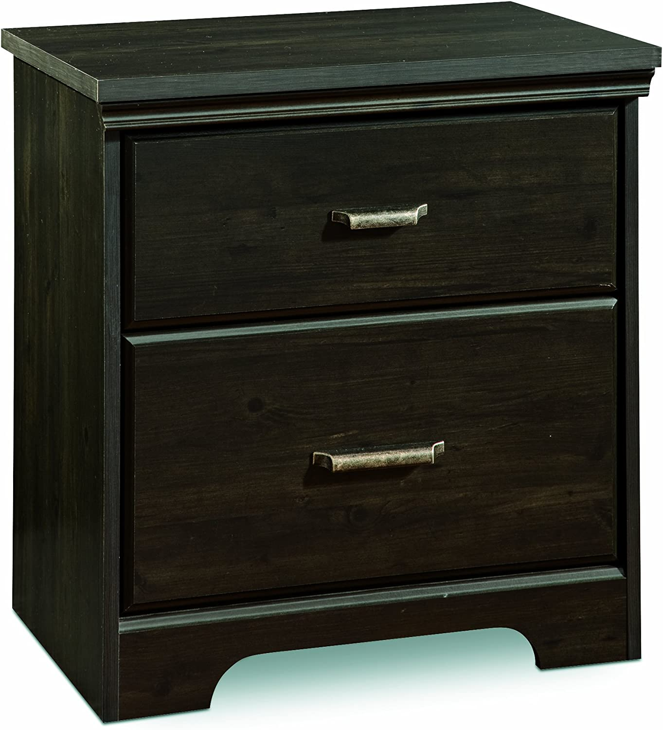 South Shore Versa 2-Drawer Nightstand, Ebony with Antique Handles