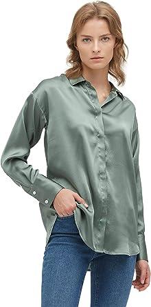 LilySilk Blusa de seda 100% morera para mujer de manga larga chic relajada camisa de seda
