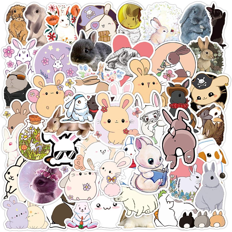 Rabbit Stickers| 50 PCS | Vinyl Waterproof Stickers for Laptop,Skateboard,Water Bottles,Computer,Phone,Guitar, Cute Rabbit Stickers for Kids Teens Adult (Rabbit)