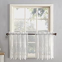 "No. 918 Joy Classic Lace Kitchen Curtain Tier Pair, 60"" x 36"", Ivory"